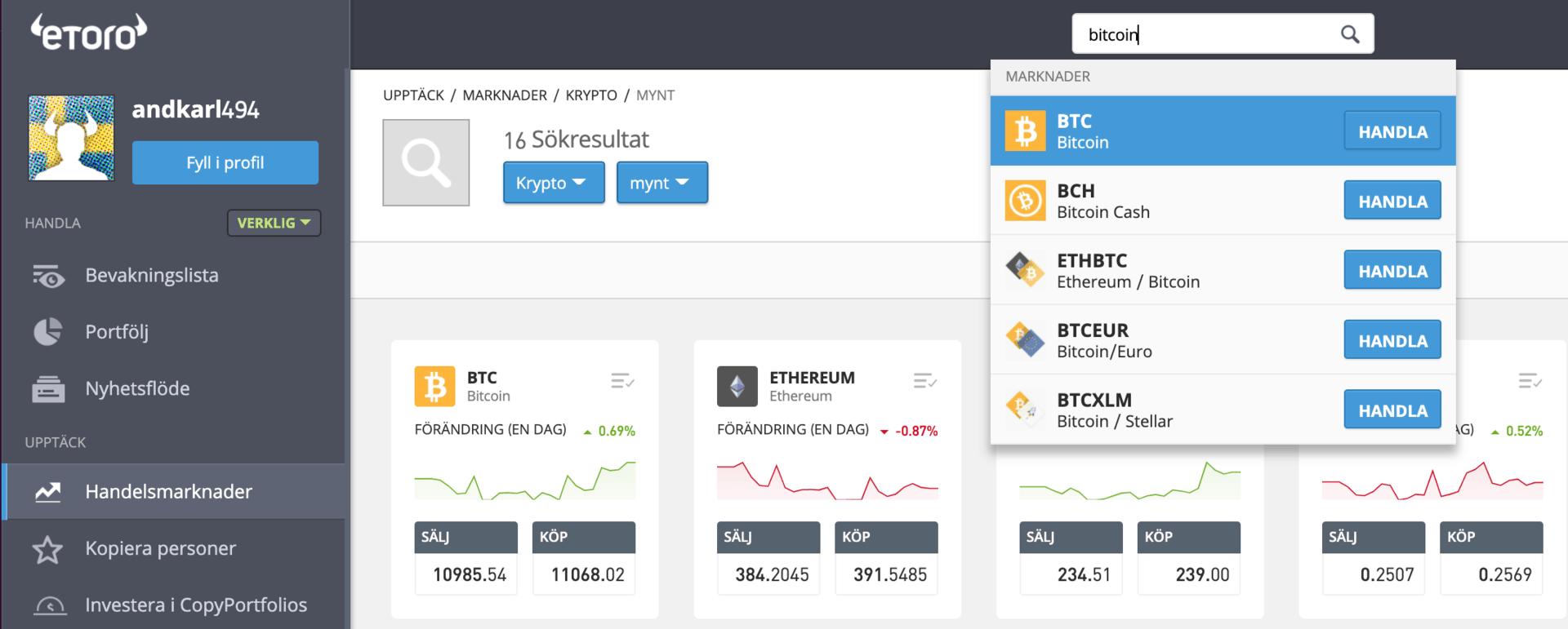 Så här gör du för att köpa Bitcoin med eToro