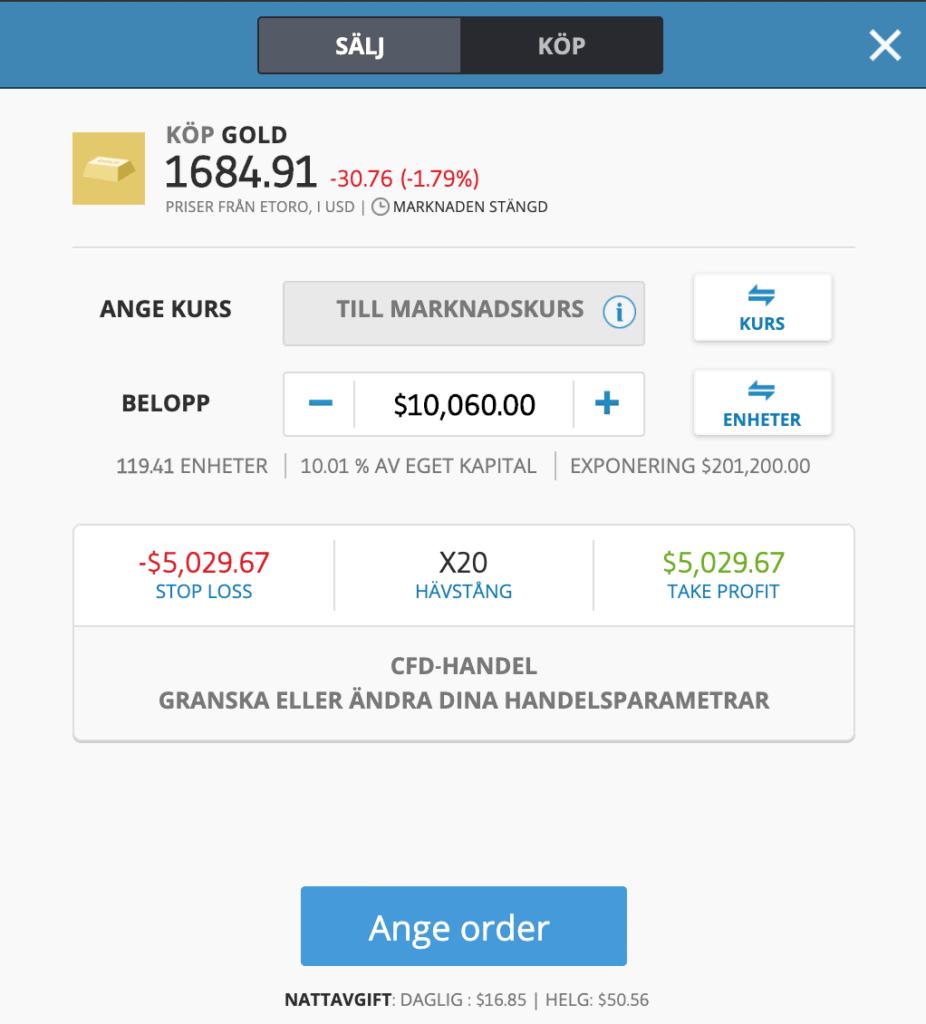 Så här handlar du guld hos eToro plattformen.