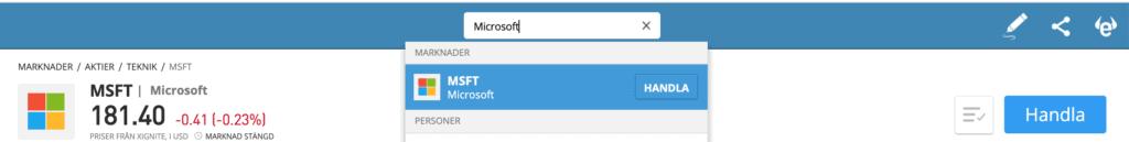 Så här köper du Microsoft aktier hos eToro