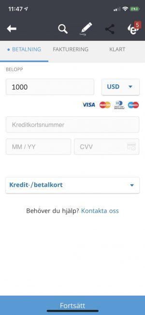 sätt in pengar med eToro med mobilen