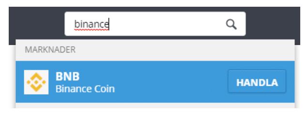 Sök efter Binance Coin
