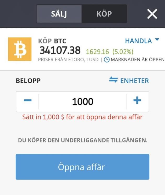 Köp Bitcoin på eToro