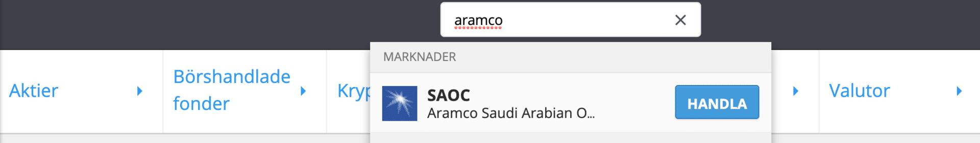 Sök efter Aramco aktie på eToro.