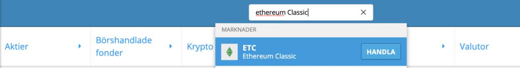 Søk Ethereum Classic på eToro