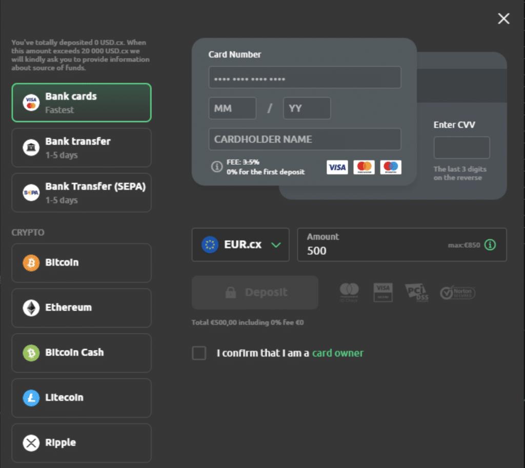 Sätt in pengar på Currency.com